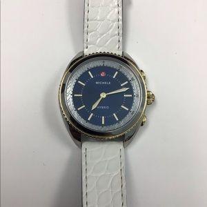 NWT Michele Hybrid White/Gold/Blue Smartwatch